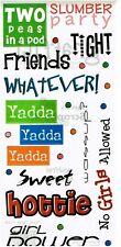 FC - SB - Yadda Yadda GIRL Talk Words Scrapbooking Stickers Slumber Party