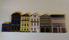 Shelia's 5 Rainbow Row Charleston South Carolina Collectible Wooden Houses 1990