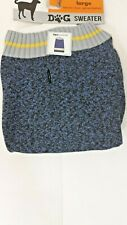 Dog Sweater Mixed Blue With Yellow And Gray Neck Size Large