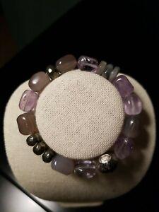 Silpada Ultraviolet Sterling Silver Amethyst Stretch Bracelet B3084