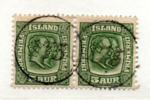 "Iceland - SC# 74 Used / Pair with double Numeral ""175"" Cancel   -    Lot 0421116"