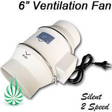 """LOW NOISE 2 SPEED HYDROPONICS VENTILATION EXHAUST FAN 6""""/150MM DUCT EXTRACTOR"""