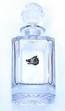Boar Head Design Cut Crystal Glass Decanter Hunting Gift