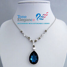 18k 18ct white gold GF wedding solid necklace made with swarovski crystal