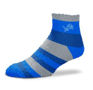 Detroit Lions Football Women's Blue Rainbow Stripe Soft Fuzzy Socks