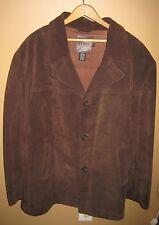 J.Crew Suede Leather Lined Brown Mens Coat Jacket Sz XL X-Large Car Coat