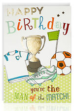 Male & Female Birthday Greetings Card - Football Trophy Boot Gold Foil - ATB5008