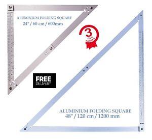 """Aluminium Folding Square 600mm & 1200mm HD Builder Roofer Multi Square 24"""" & 48"""""""