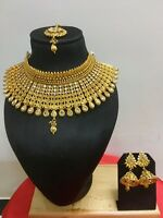 Ethnic Wedding New Indian Jewelry Bridal Necklace Set Earring Gold Plated