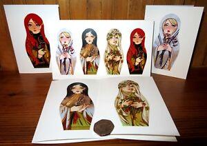 Matryoshka DOLL ART BIRTHDAY CARD GREETING 4 Seasons Winter Spring Autumn Summer