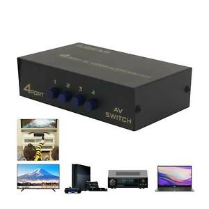 4-Way AV Switch RCA Switcher Box Video L/R Audio Selector 4 In 1 Out Composite