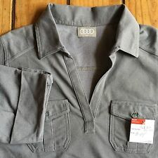 New AUDI Women's Medium Shirt Gray Collar V-Neck Pockets Camp AWL213