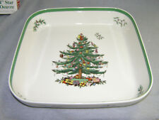 """Spode Christmas Tree 11"""" Square Oven to Table Casserole Buffet Dish Excellent"""