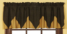 KETTLE GROVE Valance Layered Lined Primitive Country Black Plaid Rustic 16x72