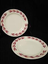 Pair Homer Laughlin Red Hemlock Bread & Butter Plates 1952 Retired**LOVELY**