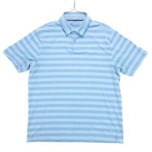 Under Armour HeatGear Polo Shirt Large Blue Striped Loose Mens
