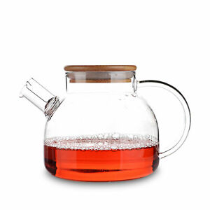 Big Glass Tea Pot Bottle w/ Bamboo Lid Built-in Stainless Steel Filter