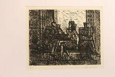 Marcel Gromaire - 3 personnages sur un banc - eau forte signée au crayon