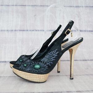 Dior Suede Black Heels Sandals 37 1/2 37.5 US 7 Straw Heel Platform Floral