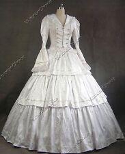 Victorian Civil War White Brocade Winter Queen Dress Vintage Wedding Gown 188