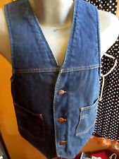 S True Vtg 70s Denim Fleece Dickies Usa Hippie Trucker Party Vest Made In Usa