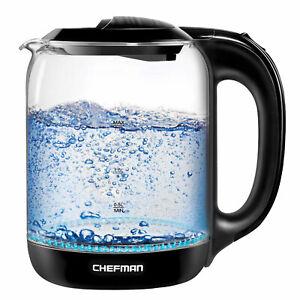 Chefman 1.7 Liter Electric Glass Tea Kettle with LED Boil Lights, Clear/Black