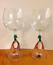 MURANO ITALY ART GLASS GOBLET,DUCK STEM SET of 2