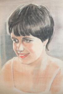 Vintage pastel painting girl portrait