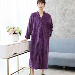 Homme Peignoir Pyjama Flanelle Polaire Corail Poche Manches Longues Violet