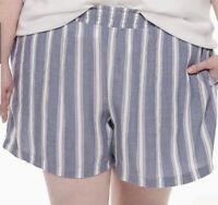 EVRI Smocked Pull-On Shorts Blue White Stripe Pockets Plus Size 2X NWT $36
