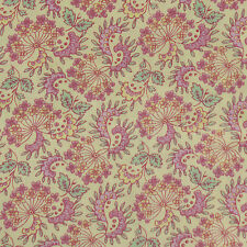 Yellow Pink Green Mini Floral Leaf Fabric BTY Small Scale For Dolls Quilting VIP