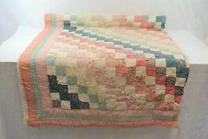 "Handmade Handstitched Quilt Vintage Approx. 80 x 60"" Multi-Color Squares Floral"