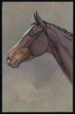 art Rivst brown Horse head portrait original old 1920s postcard