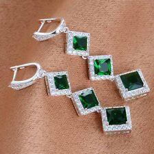 Women's Fashion 925 Solid Silver Emerald Dangle Hoop Earring Wedding Jewelry NEW