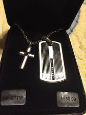 GENUINE BLACK DIAMOND STERLING SILVER CROSS PENDANT AND NECKLACE MENS NEW $650