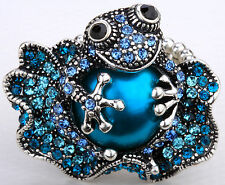 Frog stretch ring cute animal bling scarf jewelry gift 11 dropshipping blue