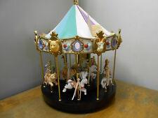 1993 Giant Musical Mitch Mu Carousel/Merry-Go-Round w/Bisque Porcelain Animals