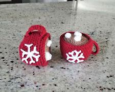 Crocheted Hot Chocolate Mug Christmas Tree Ornament
