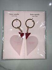 Kate Spade New York Key Chain Ring Set Gold Tone Ring Pink Heart Keychain