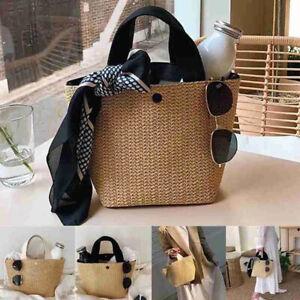 Lady Fashion Wicker Handbag Bags Tote Beach Straw Woven Summer Rattan Basket Bag