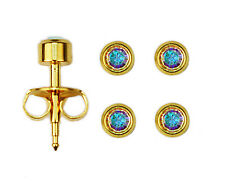 2prs 24K Over Surgical Stainless Steel Ear Piercing Aurora Borealis Stud Earring