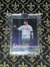 2018 Clearly Authentic Justin Bour purple auto on card 2/10 Marlins SP