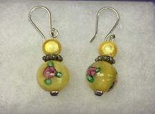 Sterling Silver Yellow Painted Flower Bead Dangle Earrings