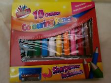 6 X 10 Chunky Colouring Pencils Bright Colour Pencil Set Sharpener Red Blue Pink