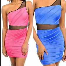 S M L Dress One Shoulder Mini See Thru Mesh Insert Revealing Sexy Club Party
