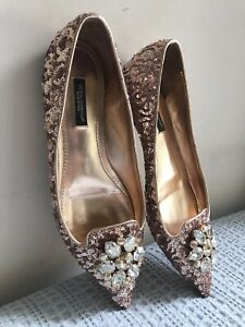 DOLCE & GABBANA gold sequins point toe flat