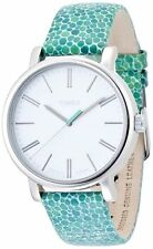 NEW TIMEX SILVER TONE,GREEN,AQUA MOSAIC LEATHER BAND,WHITE DIAL WATCH-T2P324