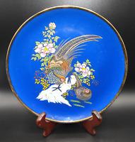VINTAGE ARDCO PORCELAIN COBALT BLUE PHEASANT BIRD DECORATIVE FLORAL FLOWER PLATE