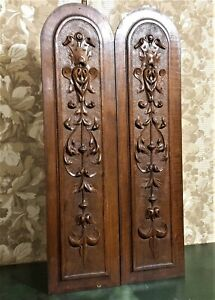 2 Scroll leaves fleur de lis carving panel Antique french architectural salvage
