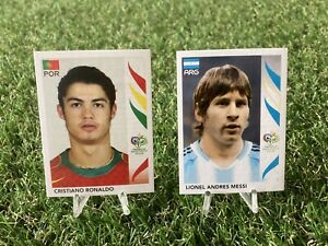 Lionel Messi & Cristiano Ronaldo World Cup 2006 Rookie RC Sticker Germany LOT 2